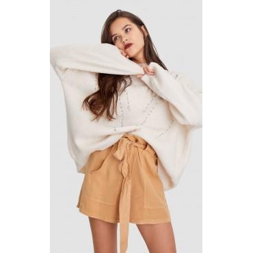 Дамски къси панталонки с колан, бежови