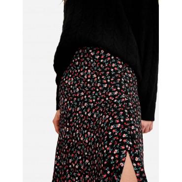 Дамска пола на цветчета с цепка, размер XS