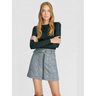 Дамска къса пола с цип, сива, каре, висока талия, Stradivaruis