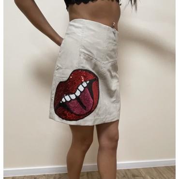 Дамска къса пола, номер 40, STRADIVARIUS, декорация с пайети